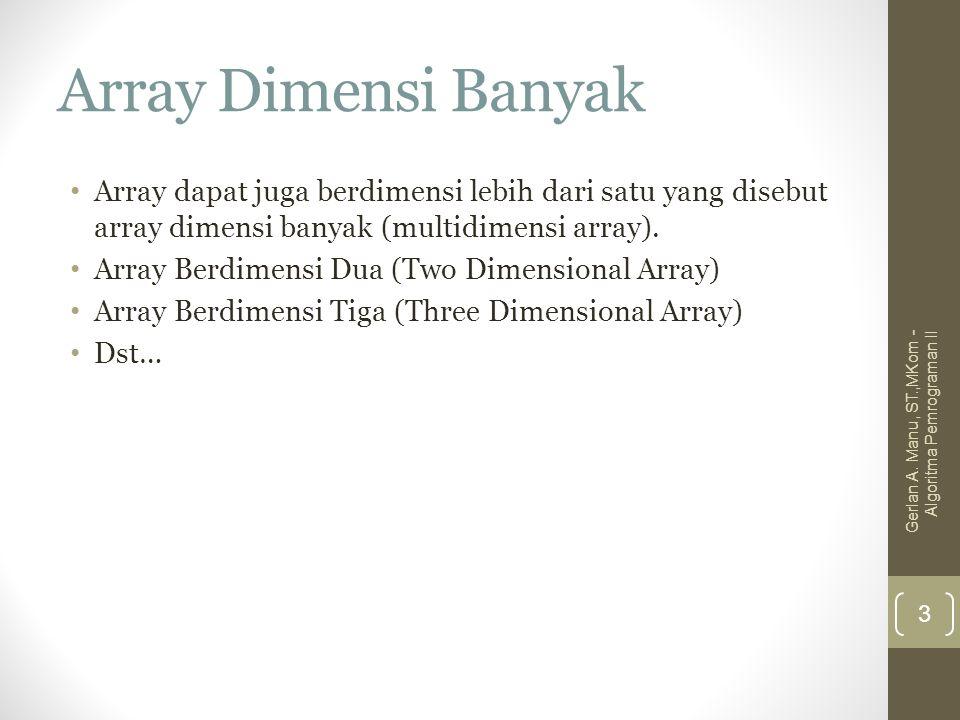 Array Dimensi Banyak Array dapat juga berdimensi lebih dari satu yang disebut array dimensi banyak (multidimensi array).