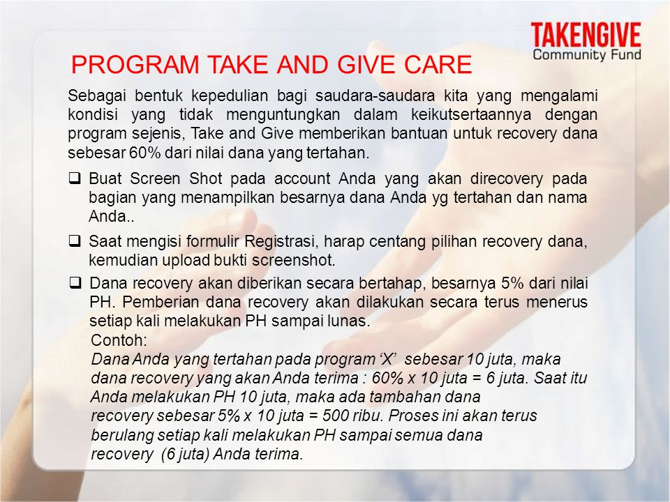 PROGRAM TAKE AND GIVE CARE