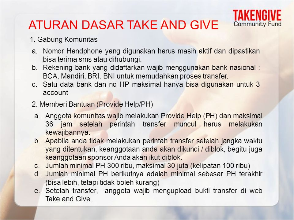 ATURAN DASAR TAKE AND GIVE