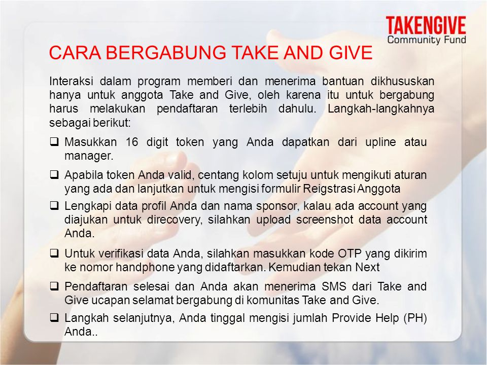 CARA BERGABUNG TAKE AND GIVE