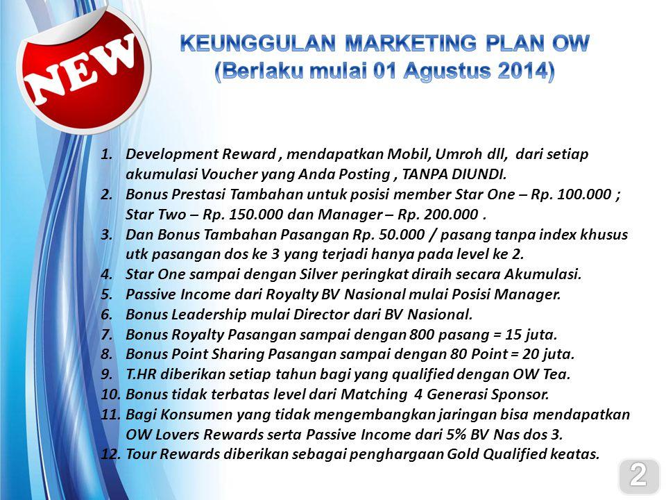 KEUNGGULAN MARKETING PLAN OW (Berlaku mulai 01 Agustus 2014)