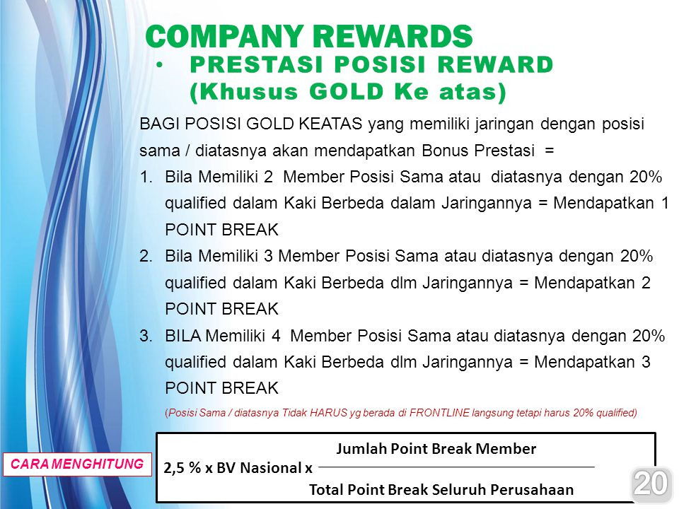 COMPANY REWARDS 20 PRESTASI POSISI REWARD (Khusus GOLD Ke atas)
