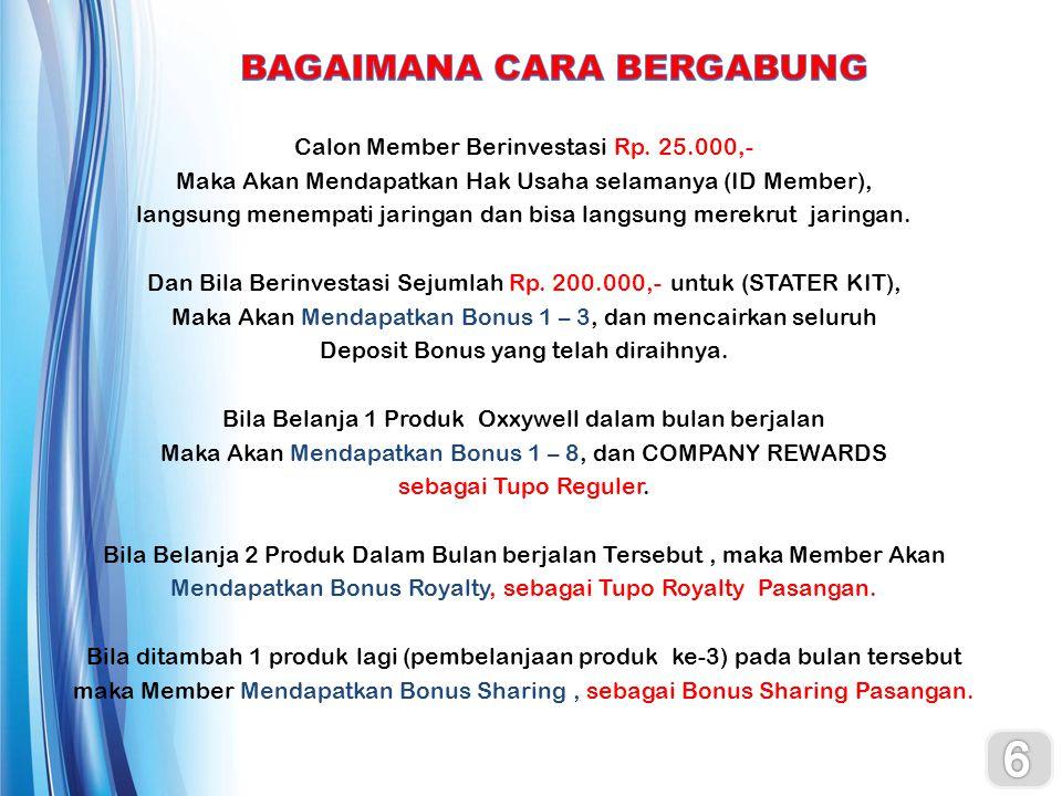 6 BAGAIMANA CARA BERGABUNG Calon Member Berinvestasi Rp. 25.000,-