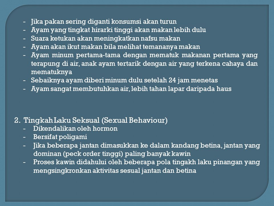 2. Tingkah Laku Seksual (Sexual Behaviour)