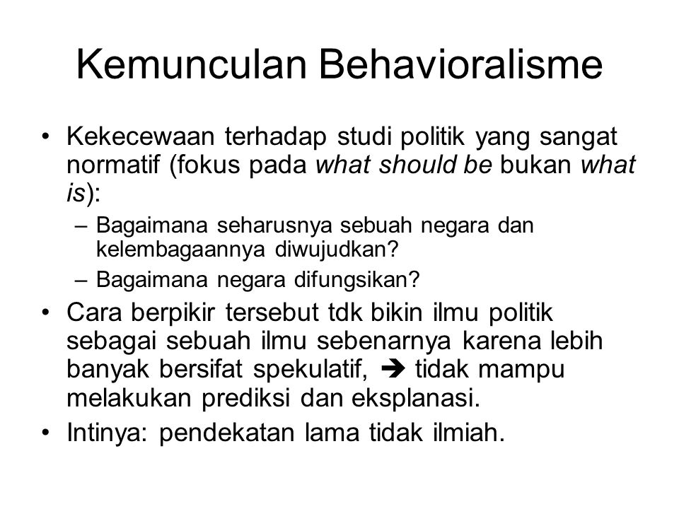 Kemunculan Behavioralisme
