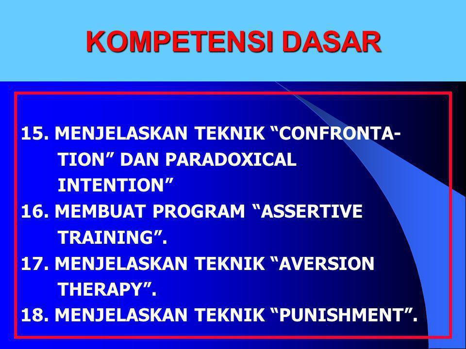 KOMPETENSI DASAR 15. MENJELASKAN TEKNIK CONFRONTA-