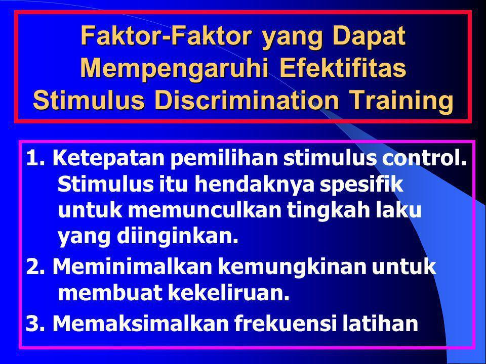 Faktor-Faktor yang Dapat Mempengaruhi Efektifitas Stimulus Discrimination Training