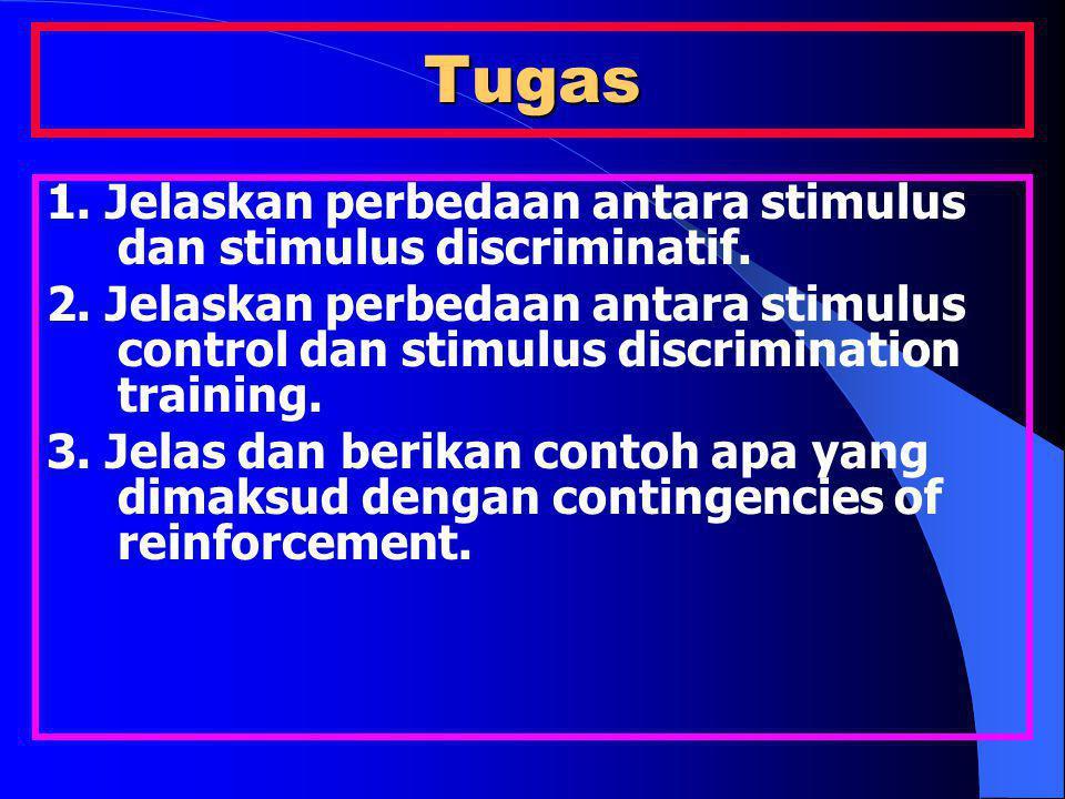 Tugas 1. Jelaskan perbedaan antara stimulus dan stimulus discriminatif.