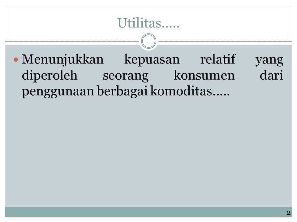 Utilitas..... Menunjukkan kepuasan relatif yang diperoleh seorang konsumen dari penggunaan berbagai komoditas.....