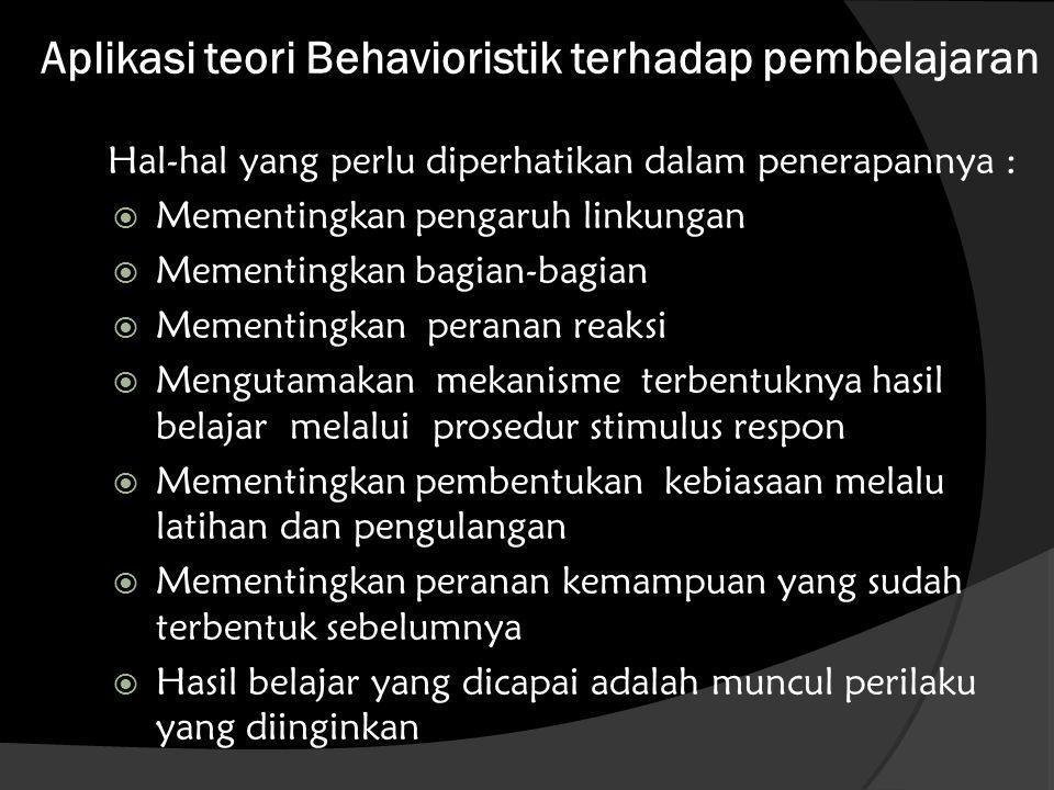 Aplikasi teori Behavioristik terhadap pembelajaran