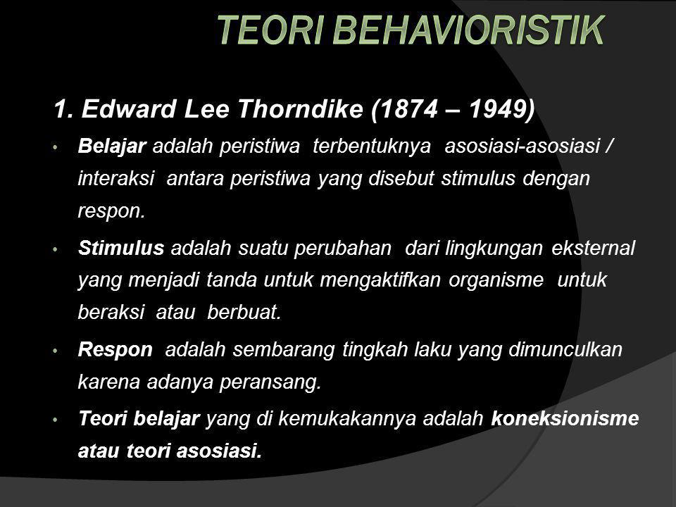 Teori Behavioristik 1. Edward Lee Thorndike (1874 – 1949)
