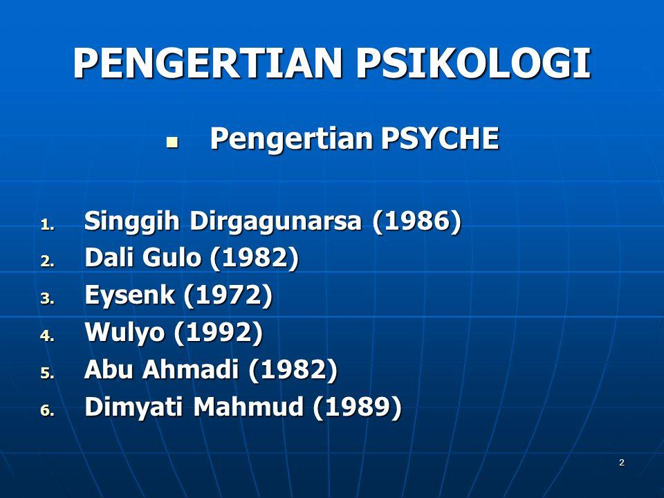 PENGERTIAN PSIKOLOGI Pengertian PSYCHE Singgih Dirgagunarsa (1986)