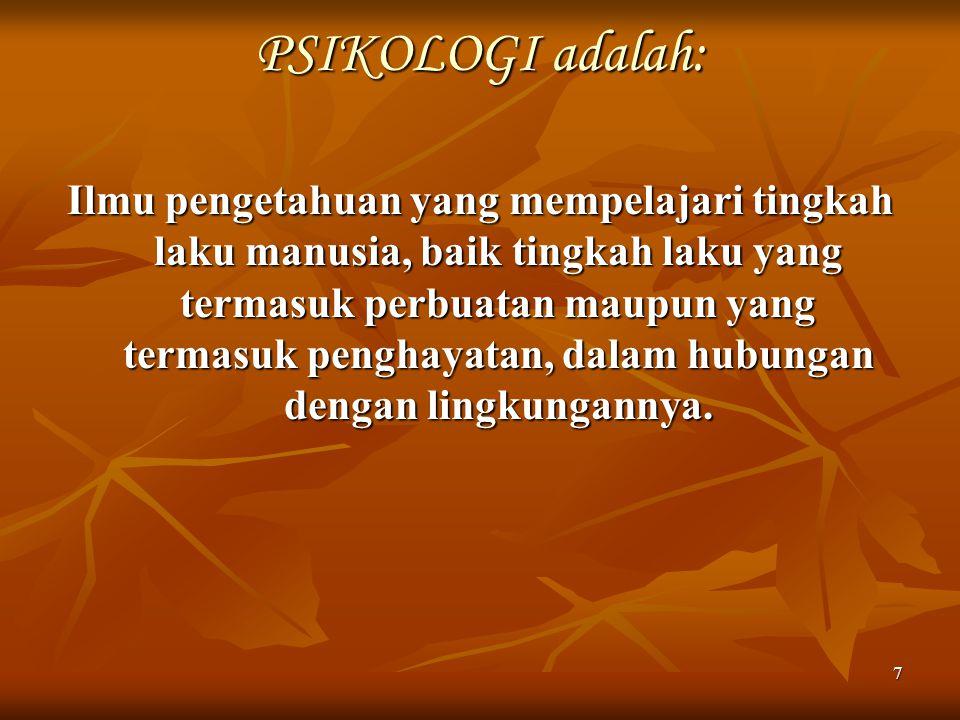 PSIKOLOGI adalah:
