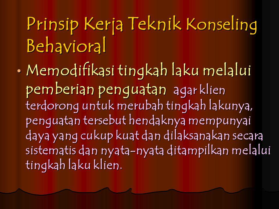 Prinsip Kerja Teknik Konseling Behavioral