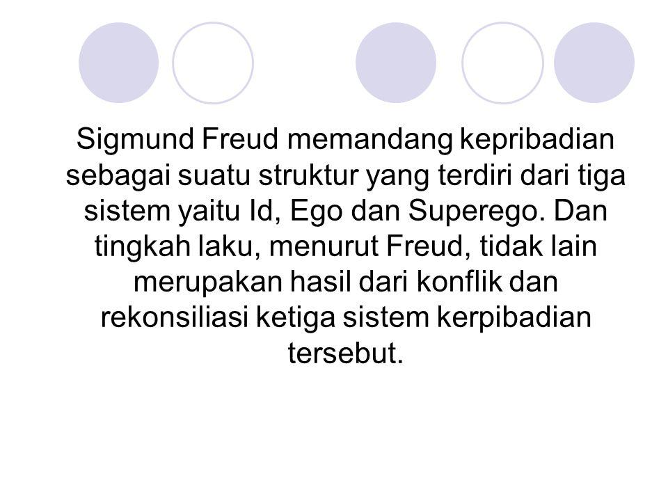 Sigmund Freud memandang kepribadian sebagai suatu struktur yang terdiri dari tiga sistem yaitu Id, Ego dan Superego.