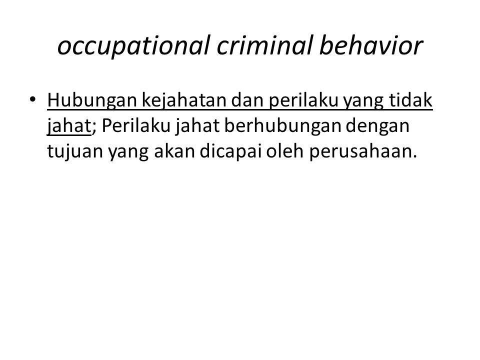 occupational criminal behavior