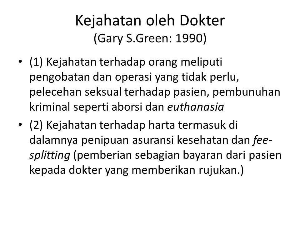 Kejahatan oleh Dokter (Gary S.Green: 1990)