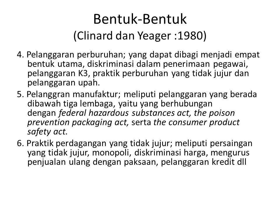 Bentuk-Bentuk (Clinard dan Yeager :1980)
