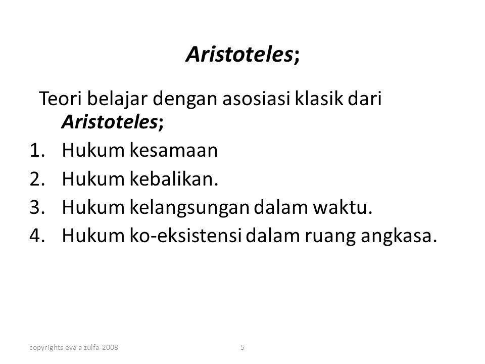 Aristoteles; Teori belajar dengan asosiasi klasik dari Aristoteles;