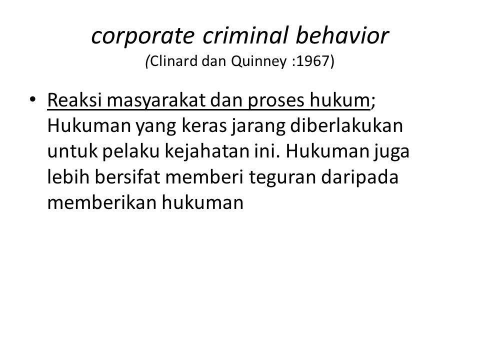 corporate criminal behavior (Clinard dan Quinney :1967)