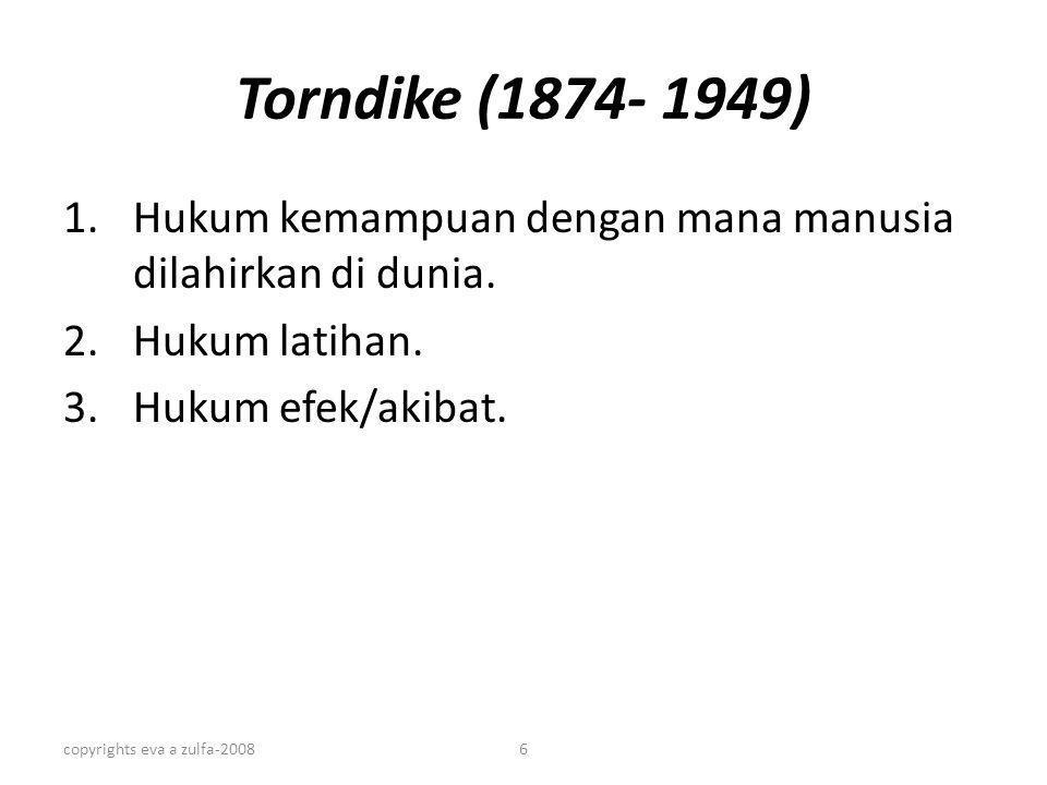 Torndike (1874- 1949) Hukum kemampuan dengan mana manusia dilahirkan di dunia. Hukum latihan. Hukum efek/akibat.