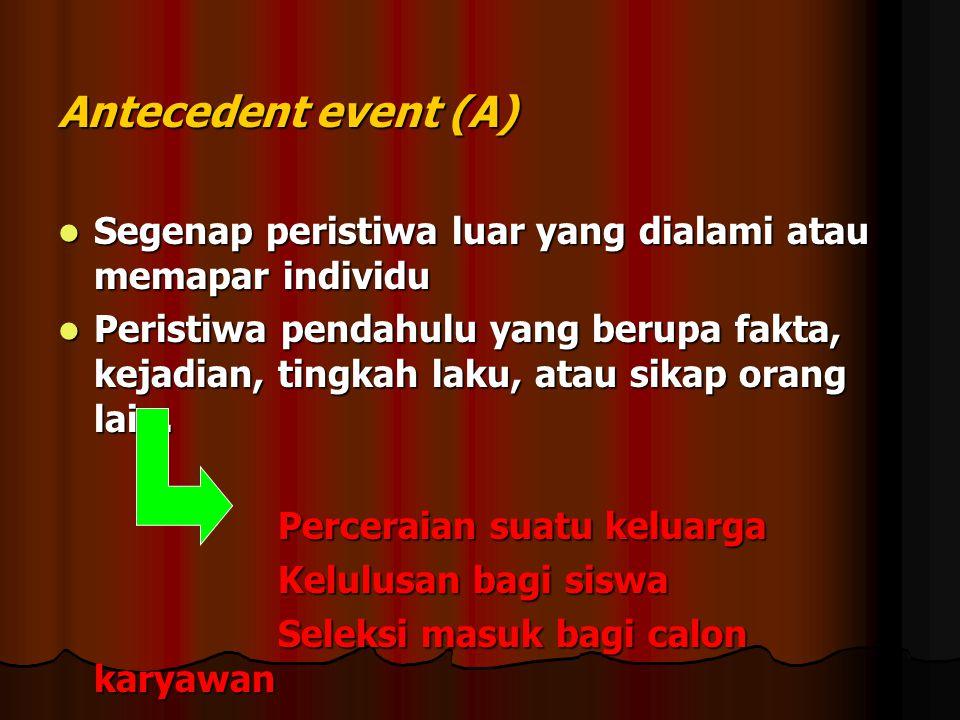 Antecedent event (A) Segenap peristiwa luar yang dialami atau memapar individu.