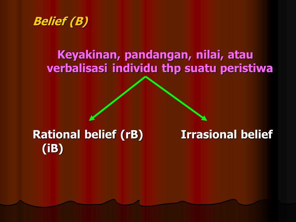 Belief (B) Keyakinan, pandangan, nilai, atau verbalisasi individu thp suatu peristiwa.