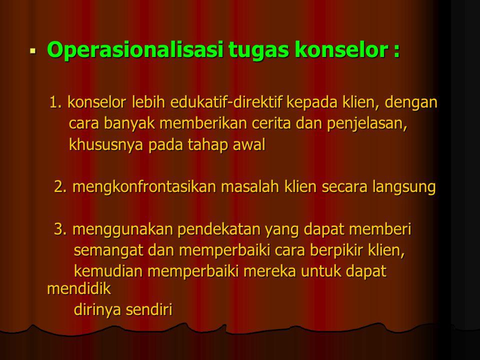 Operasionalisasi tugas konselor :