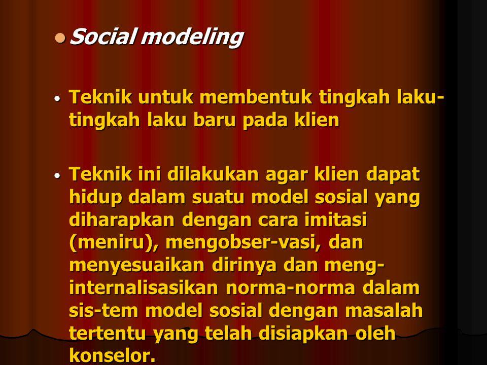 Social modeling Teknik untuk membentuk tingkah laku-tingkah laku baru pada klien.