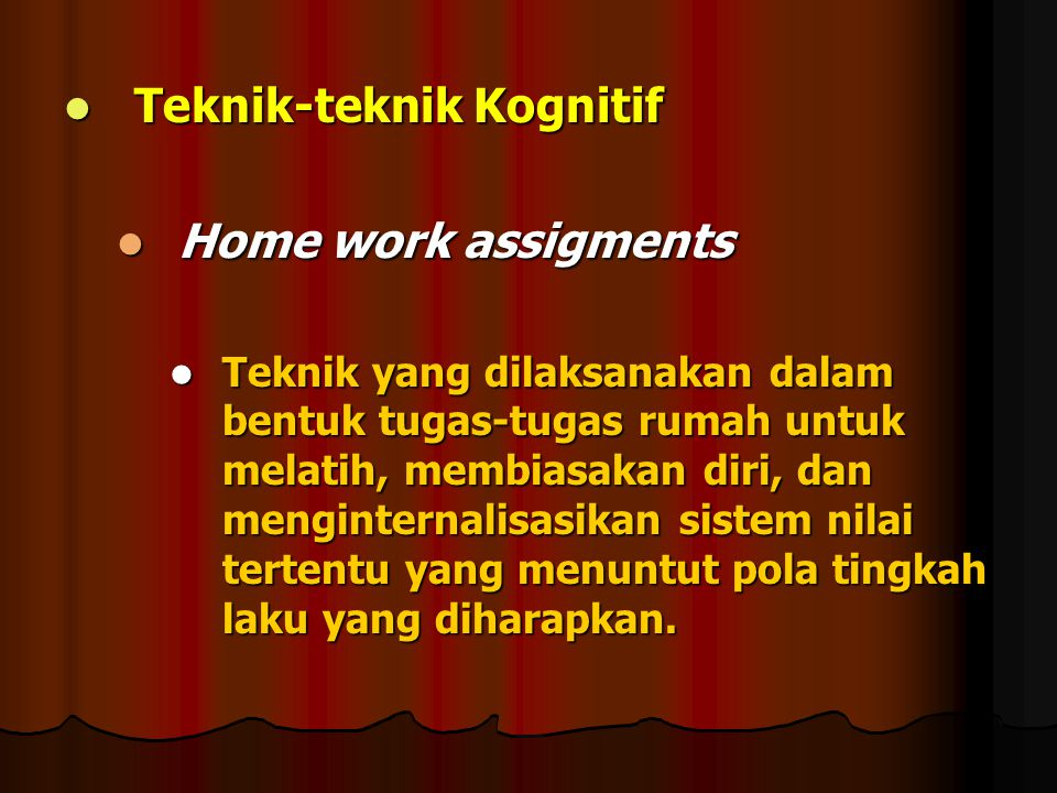 Teknik-teknik Kognitif Home work assigments