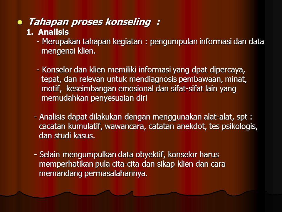 Tahapan proses konseling :