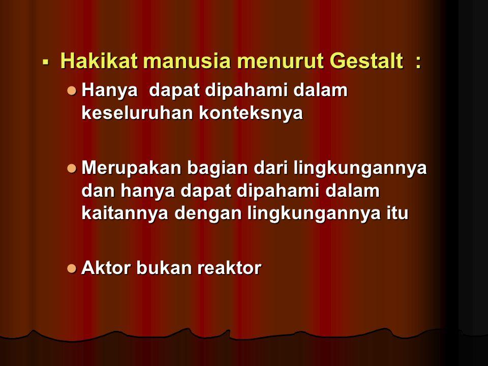 Hakikat manusia menurut Gestalt :