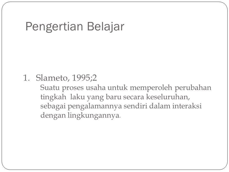 Pengertian Belajar Slameto, 1995;2