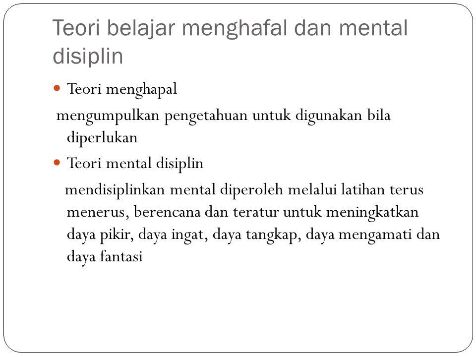 Teori belajar menghafal dan mental disiplin