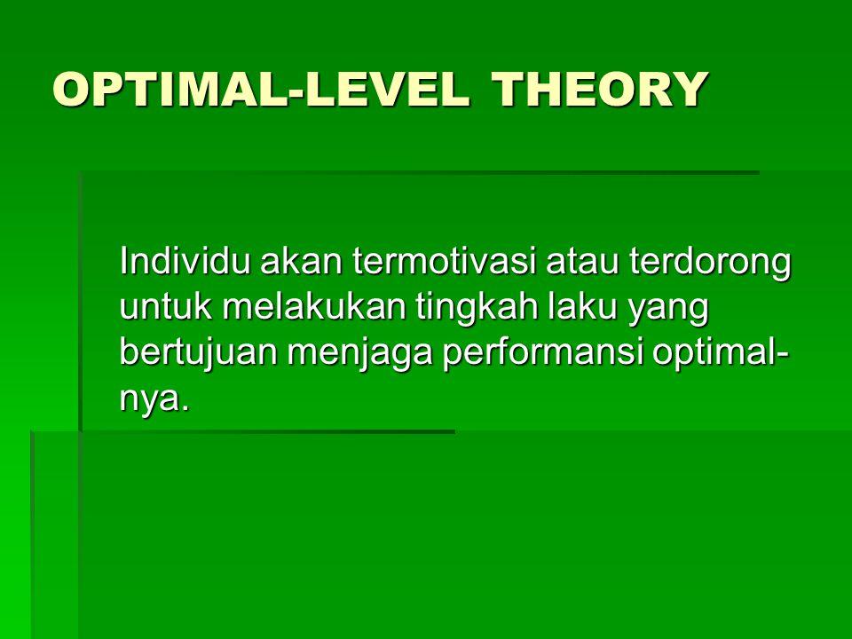 OPTIMAL-LEVEL THEORY Individu akan termotivasi atau terdorong untuk melakukan tingkah laku yang bertujuan menjaga performansi optimal-nya.