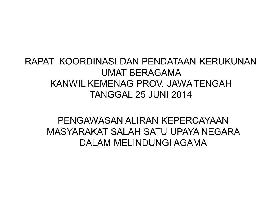 RAPAT KOORDINASI DAN PENDATAAN KERUKUNAN UMAT BERAGAMA KANWIL KEMENAG PROV. JAWA TENGAH TANGGAL 25 JUNI 2014