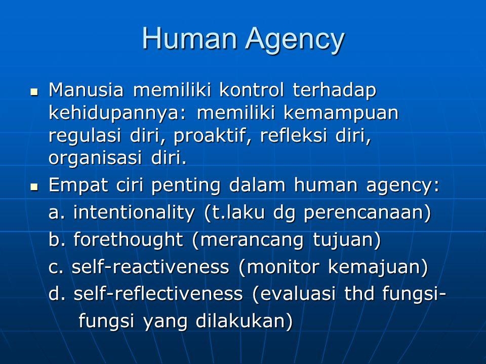 Human Agency Manusia memiliki kontrol terhadap kehidupannya: memiliki kemampuan regulasi diri, proaktif, refleksi diri, organisasi diri.