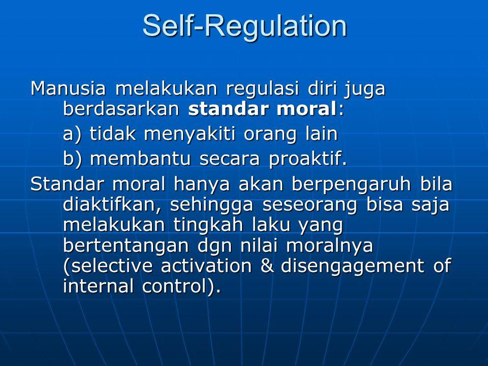 Self-Regulation Manusia melakukan regulasi diri juga berdasarkan standar moral: a) tidak menyakiti orang lain.