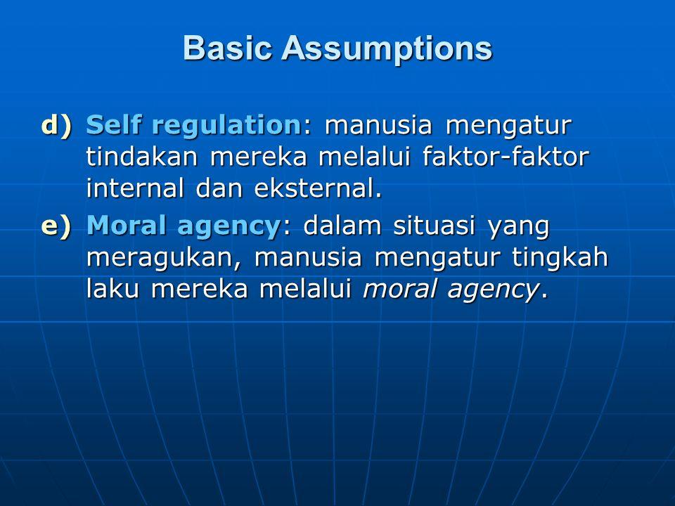 Basic Assumptions Self regulation: manusia mengatur tindakan mereka melalui faktor-faktor internal dan eksternal.
