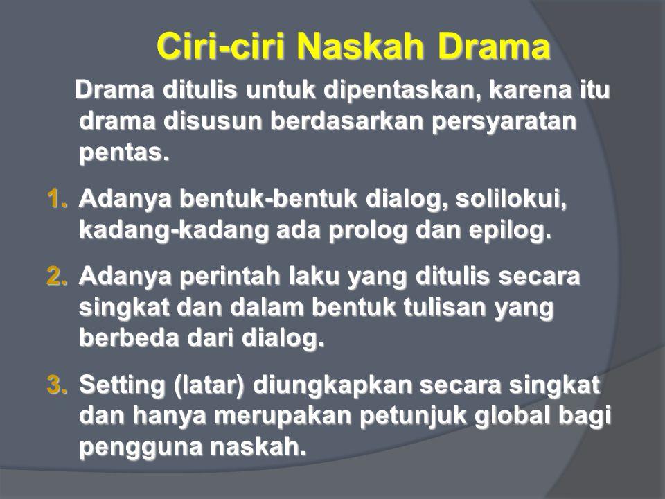 Ciri-ciri Naskah Drama