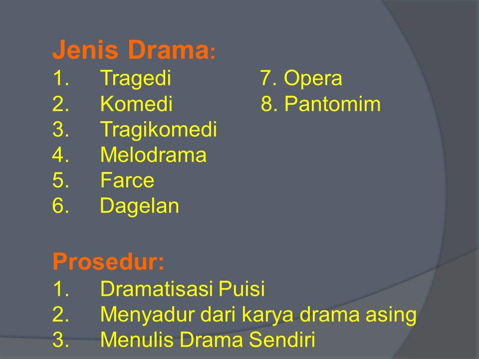 Jenis Drama: Prosedur: Tragedi 7. Opera Komedi 8. Pantomim Tragikomedi