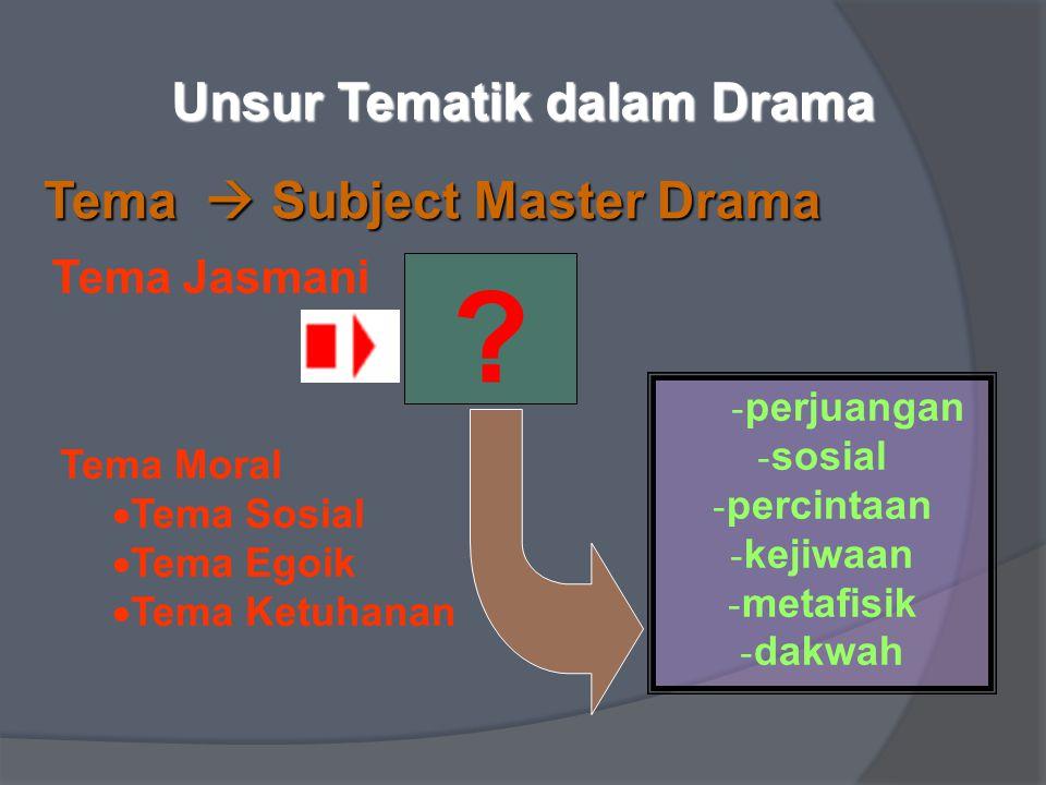 Unsur Tematik dalam Drama Tema  Subject Master Drama