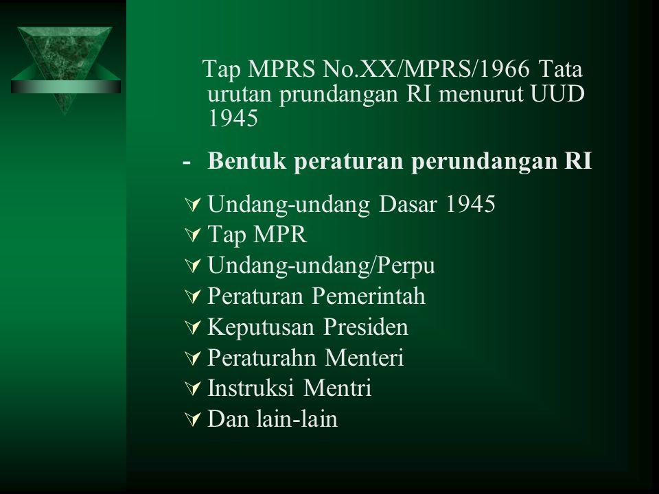 Tap MPRS No.XX/MPRS/1966 Tata urutan prundangan RI menurut UUD 1945