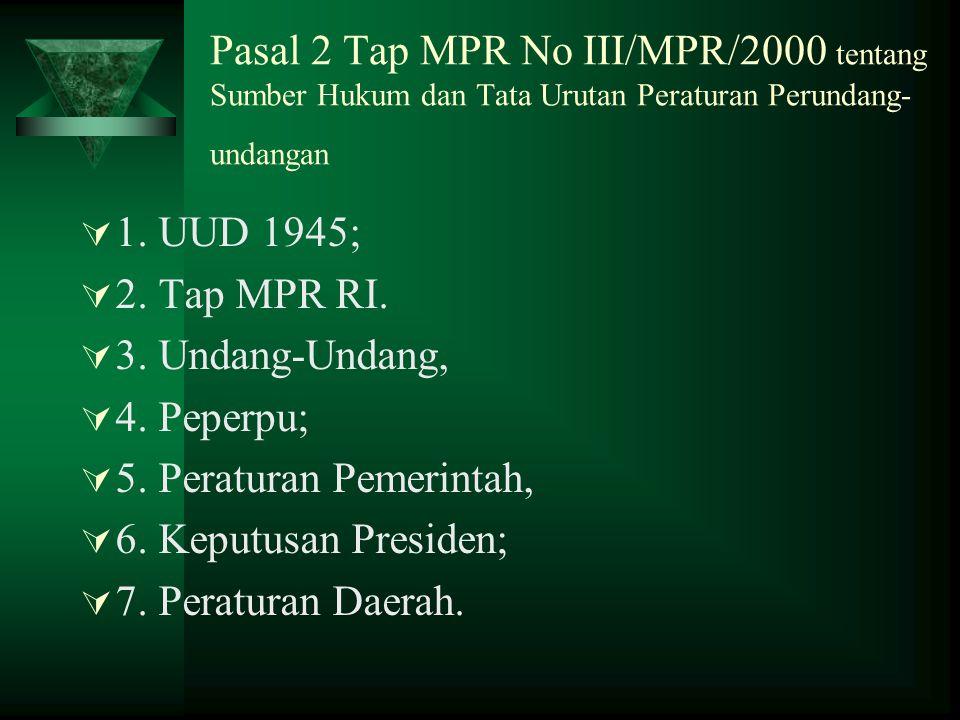 Pasal 2 Tap MPR No III/MPR/2000 tentang Sumber Hukum dan Tata Urutan Peraturan Perundang- undangan