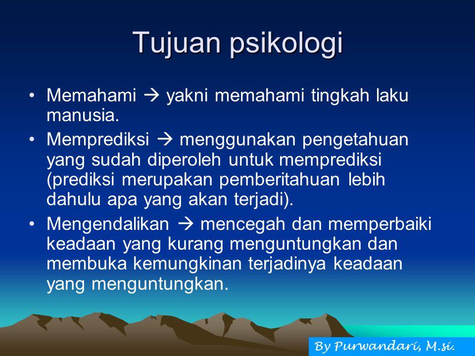Tujuan psikologi Memahami  yakni memahami tingkah laku manusia.
