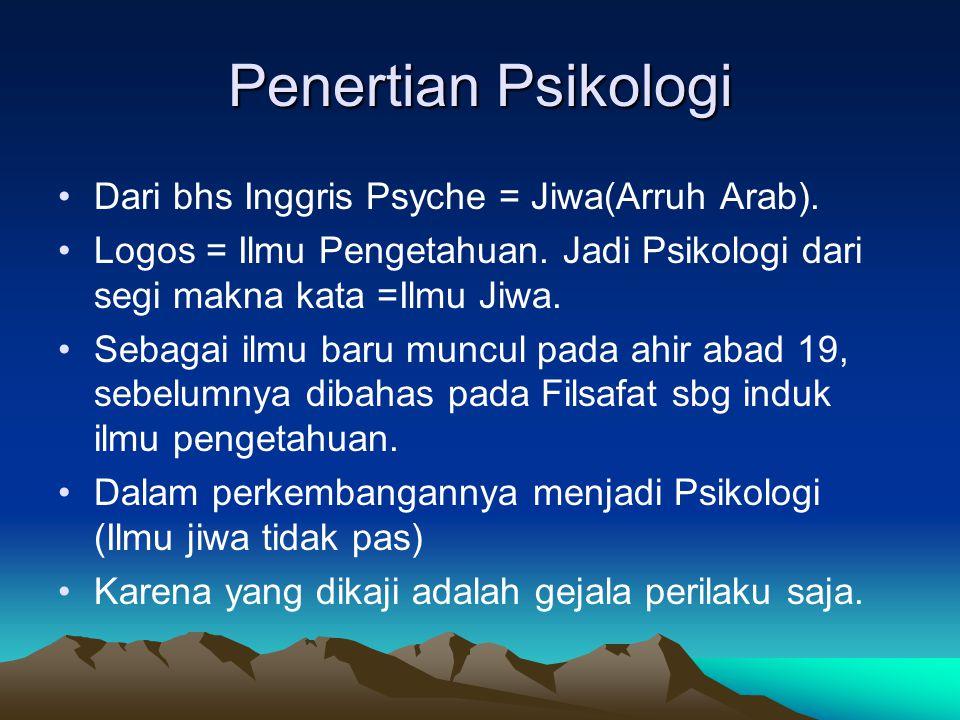 Penertian Psikologi Dari bhs Inggris Psyche = Jiwa(Arruh Arab).
