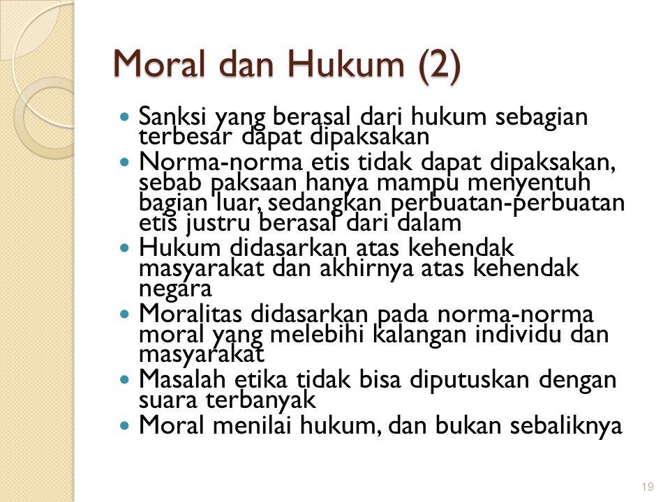 Moral dan Hukum (2) Sanksi yang berasal dari hukum sebagian terbesar dapat dipaksakan.