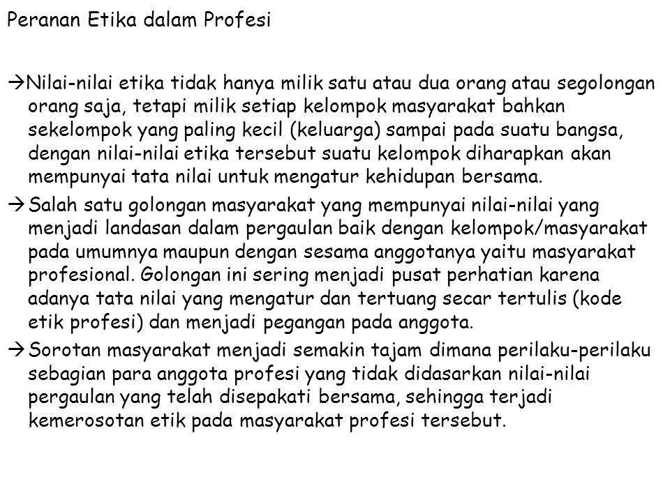 Peranan Etika dalam Profesi
