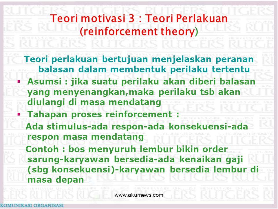 Teori motivasi 3 : Teori Perlakuan (reinforcement theory)