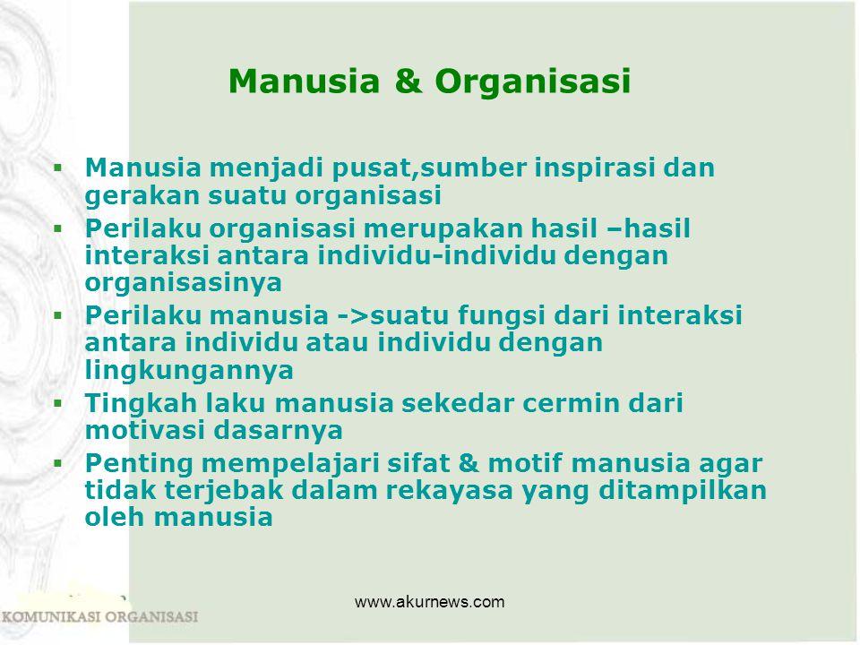 Manusia & Organisasi Manusia menjadi pusat,sumber inspirasi dan gerakan suatu organisasi.